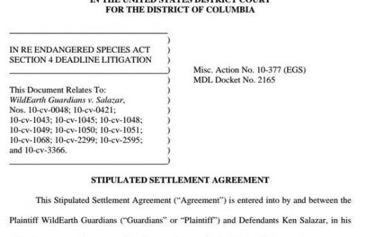 U.S. Fish & Wildlife v Wild Earth Guardians ESA Settlement Agreement